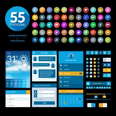 estado del tiempo: Conjunto de elementos de la interfaz de diseño de planos y los iconos