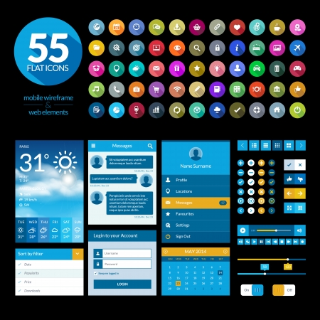 mobile website: Set of flat design ui elements and icons