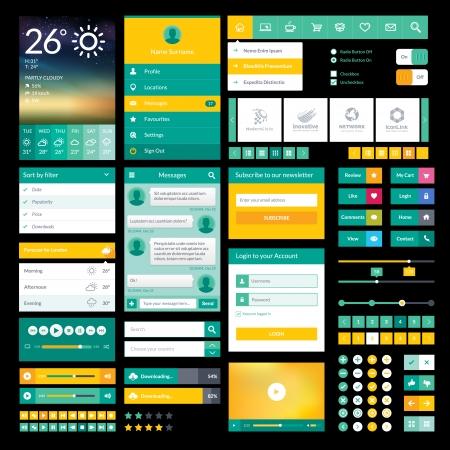 フラット アイコンおよびモバイル アプリと web デザインの要素のセット