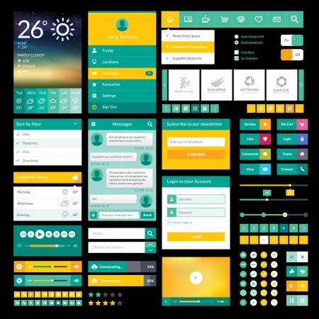 app: Set of flat icons and elements for mobile app and web design Illustration
