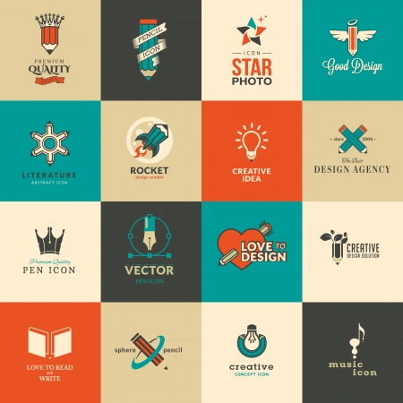 Set of icons and stickers for art and education Vector