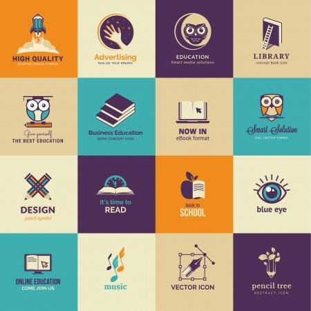educaci�n en l�nea: Conjunto de iconos del arte y la educaci�n