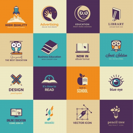 computer education: Set of art and education icons