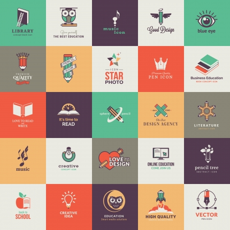 pencil symbol: Set of quality designed art and education icons