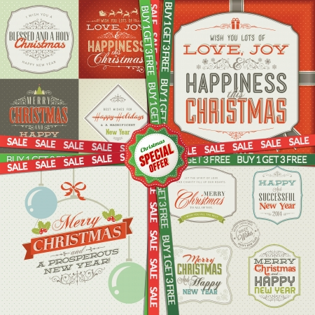 Special Christmas and New Year offer, 4 in 1 package  Set of greeting cards, labels, stickers, banners and badges  Vector