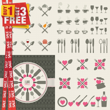 Set of icons and elements for restaurants, food and drink  Special offer 4 in 1 package  Vector