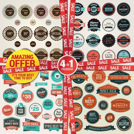 badge ribbon: Set of labels, banners, stickers, badges and elements for sale and premium quality  Amazing offer, 4 in 1 package