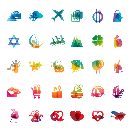 christmas in july: Set of holidays icons