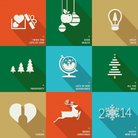 dise�os: Conjunto de iconos, banners y tarjetas para Navidad y A�o Nuevo Vectores