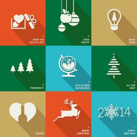 pr�sentieren: Set von Icons, Banner und Karten f�r Weihnachten und Neujahr
