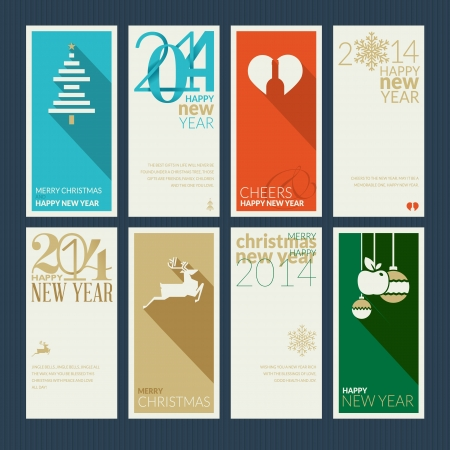 Set of Christmas and New Year greeting cards  Design the front and back of the greetings  Vector
