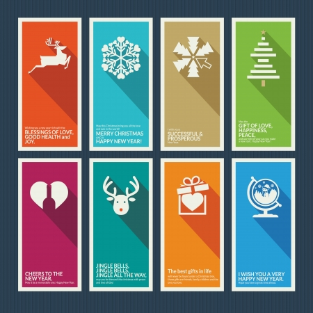 holiday icons: Set of Christmas and New Year greeting cards Illustration