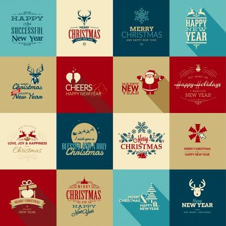 renna: Set di elementi per Natale e Nuovo Anno biglietti di auguri Vettoriali
