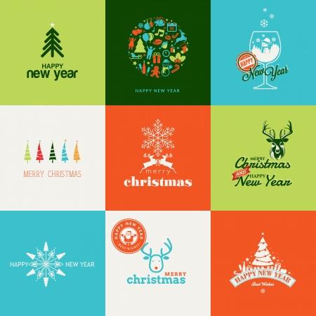 bonhomme de neige: Ensemble d'�l�ments pour No�l et Nouvel An cartes de v?ux Illustration