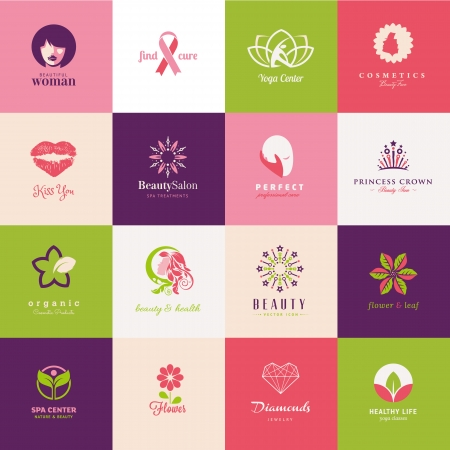 yoga to cure health: Set of beauty icons