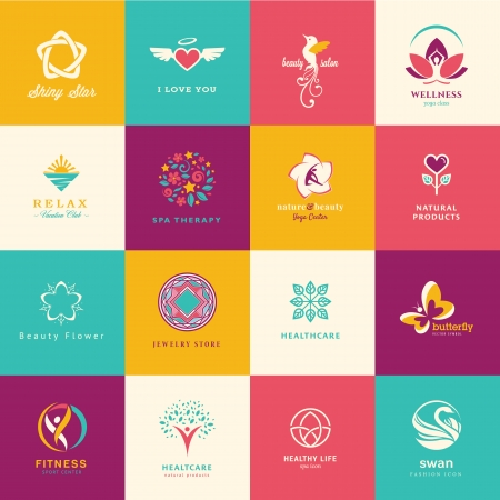 human health: Conjunto de iconos planos para la belleza, cuidado de la salud, el bienestar y la moda Vectores