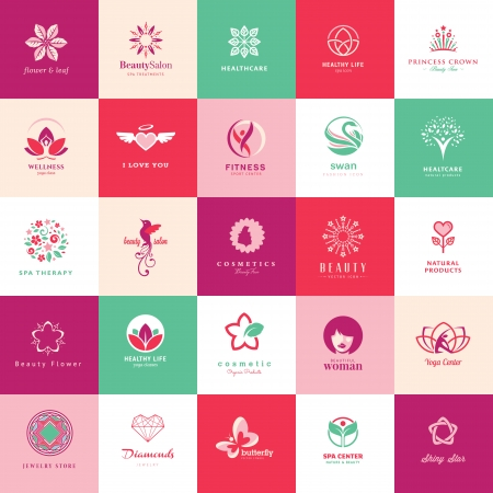 flat leaf: Set of icons for beauty, cosmetics, spa and wellness Illustration