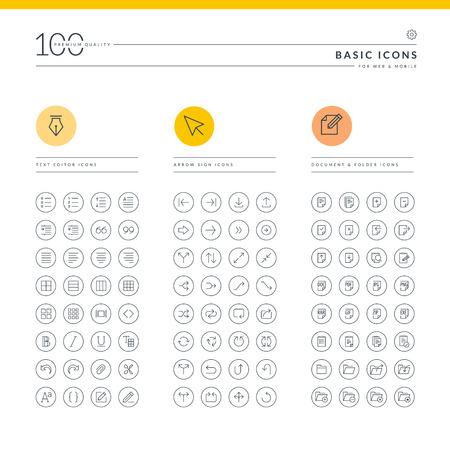 web technology: Set di icone di base per web e mobile Icone per editor di testo, Segno di freccia, documenti e cartelle Vettoriali