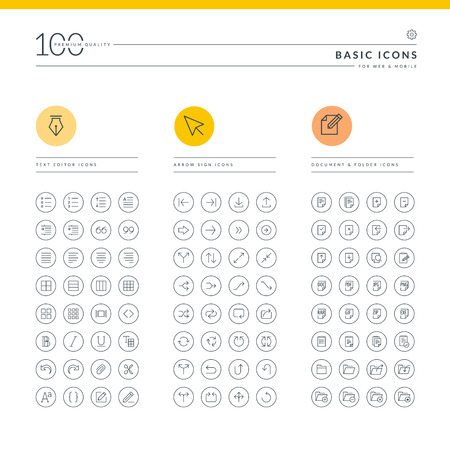 Set of basic icons for web and mobile  Icons for text editor, arrow sign, document and folder  Vector