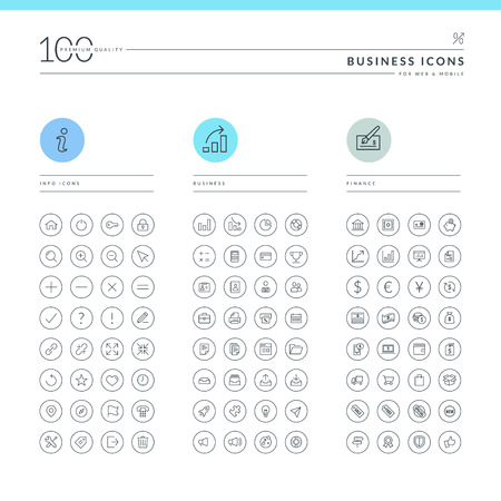 info business: Set of business icons for web and mobile  Info, business and finance icons  Illustration