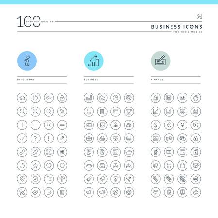 Set van pictogrammen voor web en mobiele Info, zakelijke en financiële iconen