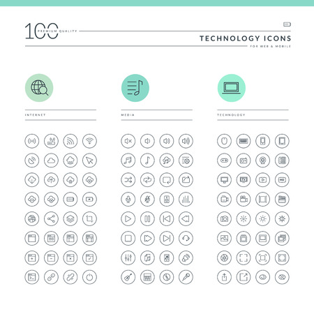 Set of technology icons for web and mobile  Icons for internet, media and technology