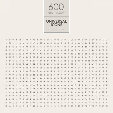 тощий: Набор универсальных иконок для веб и мобильных большой пакет современных минималистичным, тонких иконок линии Иллюстрация