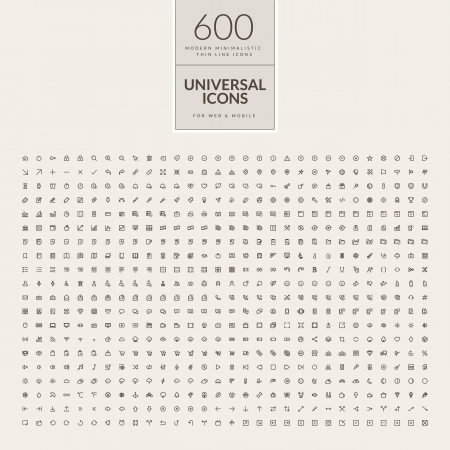 Set of universal icons for web and mobile  Big package of modern minimalistic, thin line icons Imagens - 24539403