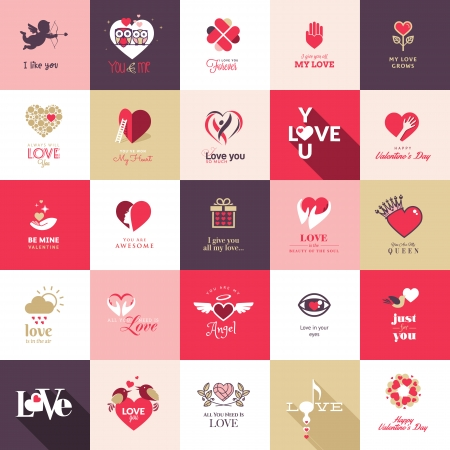 Big set of icons for Valentines day, Mothers day, wedding, love and romantic events Vector