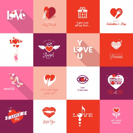 day sign: Set de iconos de San Valent�n d�a