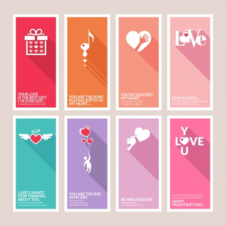 love birds: Set of Valentines day greeting cards Illustration