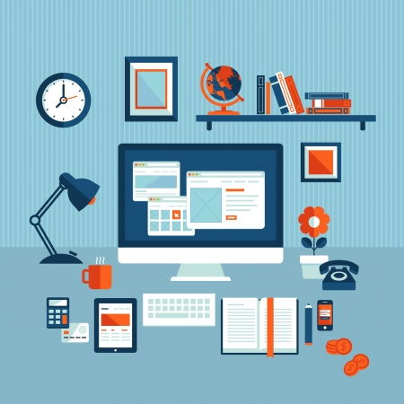 Flat design vector illustration concept of modern business workspace     Vector