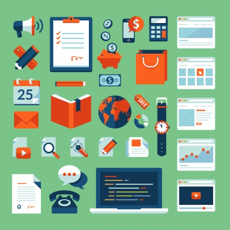 document: Flat design vector illustration concept icons set of business working elements for web design, e-commerce, mobile app, digital marketing, programming, seo, office, communication, finance  Illustration