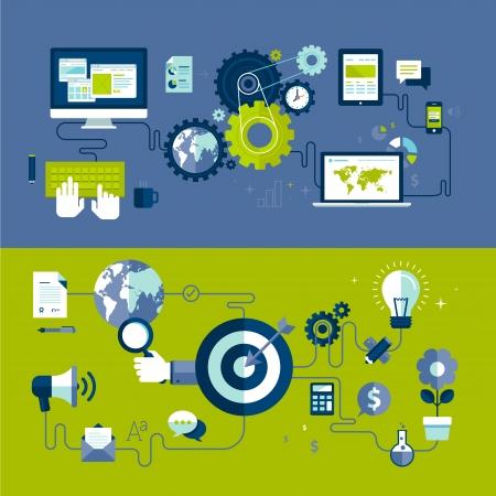doelstelling: Plat ontwerp vector illustratie concepten van responsieve webdesign en internet reclame werkproces, geïsoleerd op een stijlvolle achtergrond Stock Illustratie