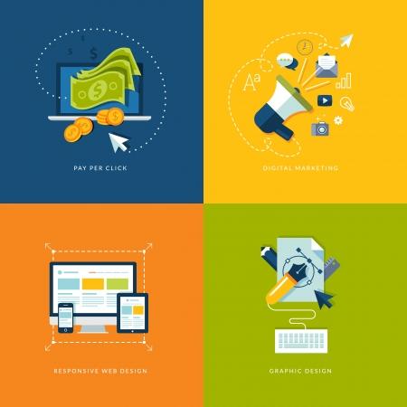 redes de mercadeo: Conjunto de iconos de concepto de dise�o plano para la web y los servicios m�viles y de iconos de aplicaciones de pago por clic en publicidad en Internet, marketing digital, dise�o de p�ginas web sensibles y dise�o gr�fico