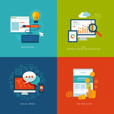 플랫: 웹 및 모바일 서비스를위한 평면 설계 개념 아이콘을 설정하고, 웹 디자인, 검색 엔진 최적화, 소셜 미디어 및 인터넷을 클릭 광고 당 지불에 대한 아이콘을 애플 리케이션 일러스트