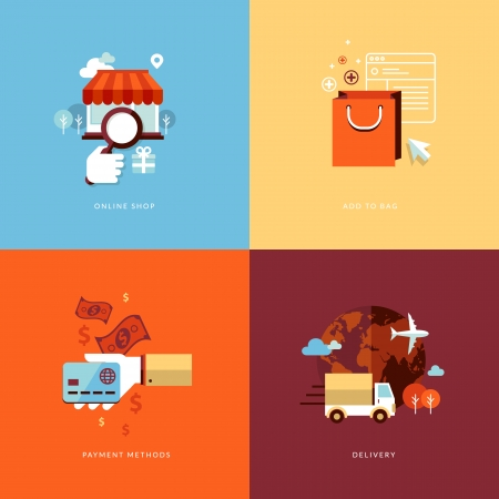 Set of flat design concept icons for online shopping  Icons for online shop, add to bag, payment methods and delivery  Ilustração