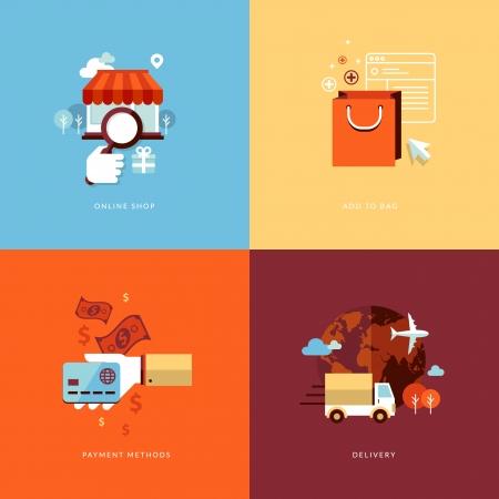 Set van platte design concept pictogrammen voor online winkelen Pictogrammen voor online shop, toevoegen aan tas, betaalmethoden en levering Stock Illustratie