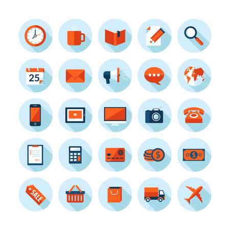 Conception plat icônes illustration moderne fixés sur le thème de l'entreprise et de la finance