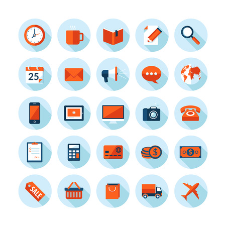 email icon: Flat design modern illustration icons set on business and finance theme