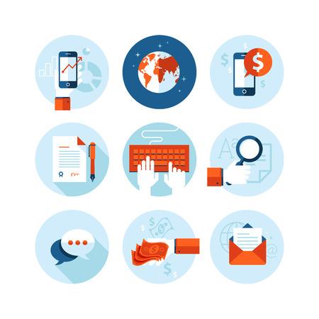 contratos: Conjunto de iconos del diseño moderno de plano sobre negocios y finanzas iconos temáticos
