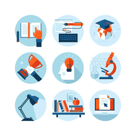 Set of modern flat design icons on the topic of knowledge and education  Vector