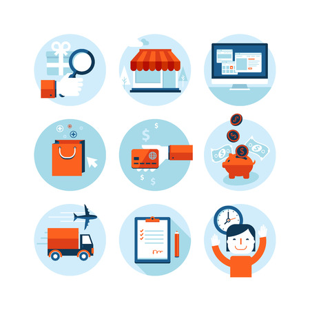 Set of modern flat design icons on the topic of online shopping and delivery service  Vector