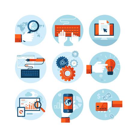 웹 디자인 개발의 주제에 현대 평면 디자인 아이콘의 집합 일러스트