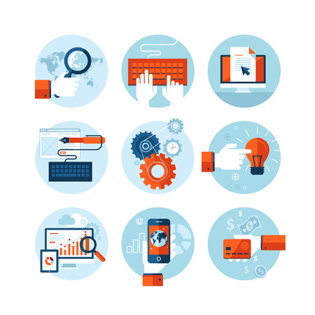piso: Conjunto de iconos del dise�o moderno plana sobre el tema de desarrollo de dise�o web Vectores