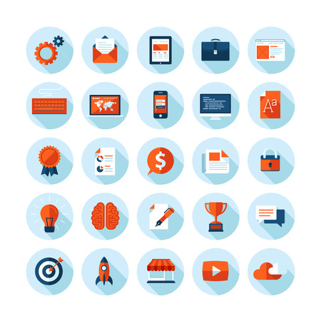 seo concept: Flat design modern illustration icons set