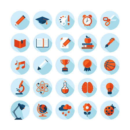 studying: Set of modern flat icons with long shadow in stylish colors