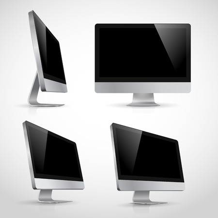 pc monitor: Realistic of computer monitor in various positions template  Isolated on white