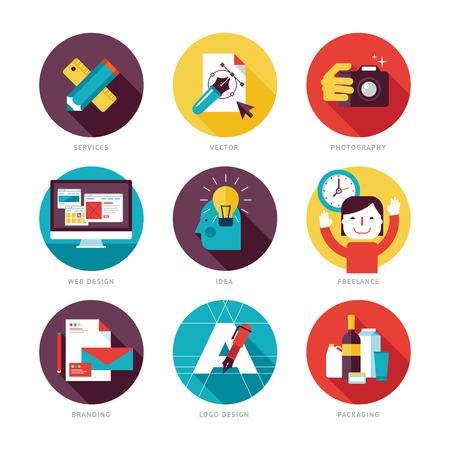 Conjunto de iconos del diseño moderno planas en el tema de desarrollo de diseño