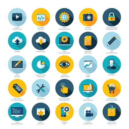 communication icons: Set of flat design icons for Web design development, SEO and Internet marketing
